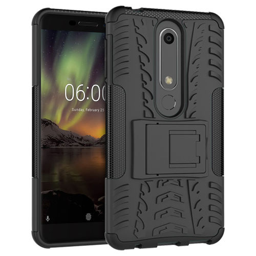 Dual Layer Rugged Tough Shockproof Case for Nokia 6 (2018) - Black